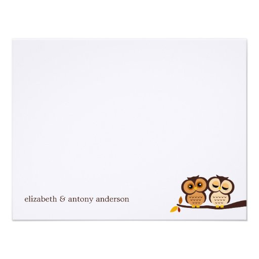 Fall Owls Custom Flat Thank You Notes Personalized Invitation