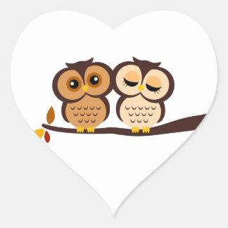 Fall Owls Heart Sticker