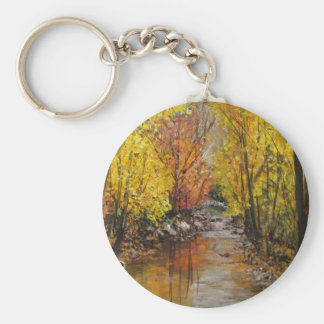Fall Painting Basic Round Button Keychain
