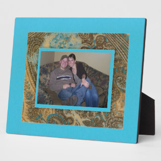 Fall Paisley and Robin Egg Blue Frame Plaque