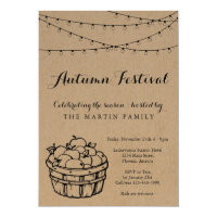 Fall Party Autumn Festival | Rustic Kraft Paper Invitation