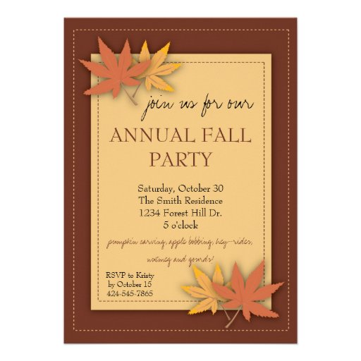 Fall Party Leaves Invitation