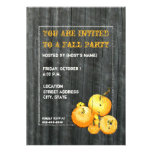 Fall Party Pumpkin & Barnwood Invitation
