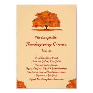 Fall Patch Tree (Veggie) Thanksgiving Dinner Menu Card