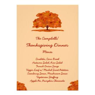 Fall Patch Tree Veggie Thanksgiving Dinner Menu Personalized Invitations