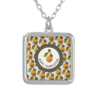 Fall Pears Fruit Thanksgiving Silver Plated Necklace
