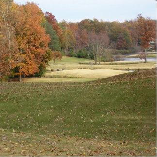 Fall photo of golf course. cutout