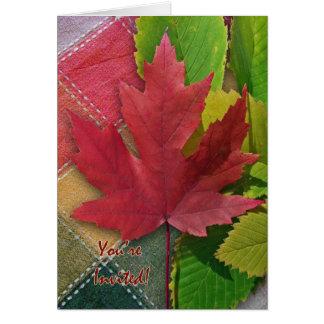 Fall Picnic Invitation, Red Maple Leaf Card