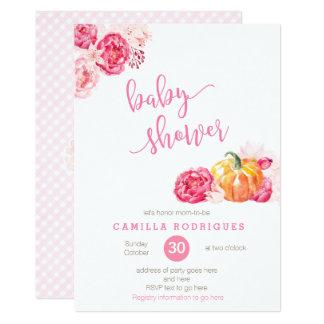 fall pink baby shower invite script font pumpkins card
