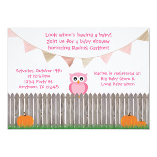 """Fall Pink Owl on Fence Baby Shower Invitation 5"""" X 7"""" Invitation Card"""
