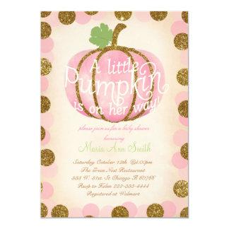 Fall Pink pumpkin glitter Vintage baby shower Card