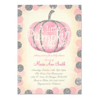 Fall Pink pumpkin sliver glitter Vintage baby Card