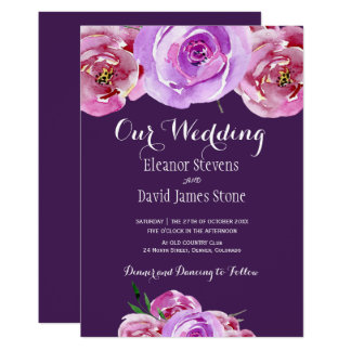 Fall plum blush pink lilac peonies chic wedding card