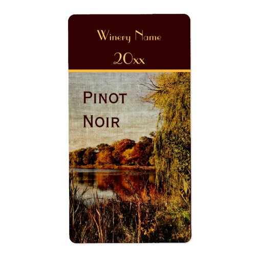 Fall pond wine bottle label