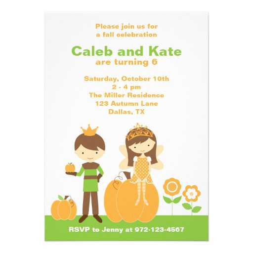Fall Prince and Fairy Princess Invitation Personalized Announcement