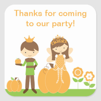 Fall Prince and Fairy Princess Stickers Square Stickers