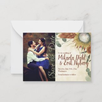 Fall Protea Flowers Save the Date Card