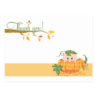Fall Pumkin  |  Baby Shower Thank You Postcard