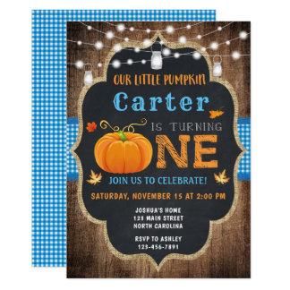 Fall Pumpkin 1st Birthday Invitation Boy
