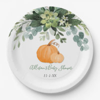 Fall pumpkin and greenery eucalyptus baby shower paper plate