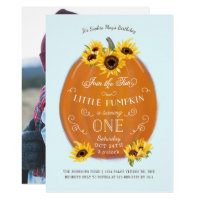 Fall Pumpkin and Sunflowers First Birthday Invitation