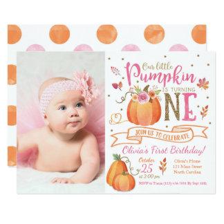 Fall Pumpkin Autumn First Birthday Invitation