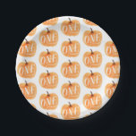 "Fall Pumpkin Autumn First Birthday ONE Pattern Paper Plate<br><div class=""desc"">First birthday pumpkin pattern</div>"