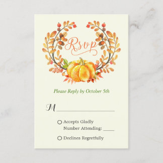 Fall Pumpkin Autumn Floral Leaves Wreath RSVP