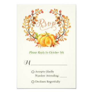 Fall Pumpkin Autumn Floral Leaves Wreath RSVP Card