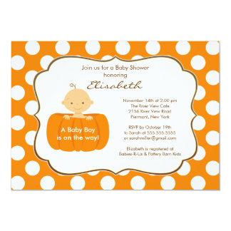 Fall Pumpkin Baby Boy Shower Invitation
