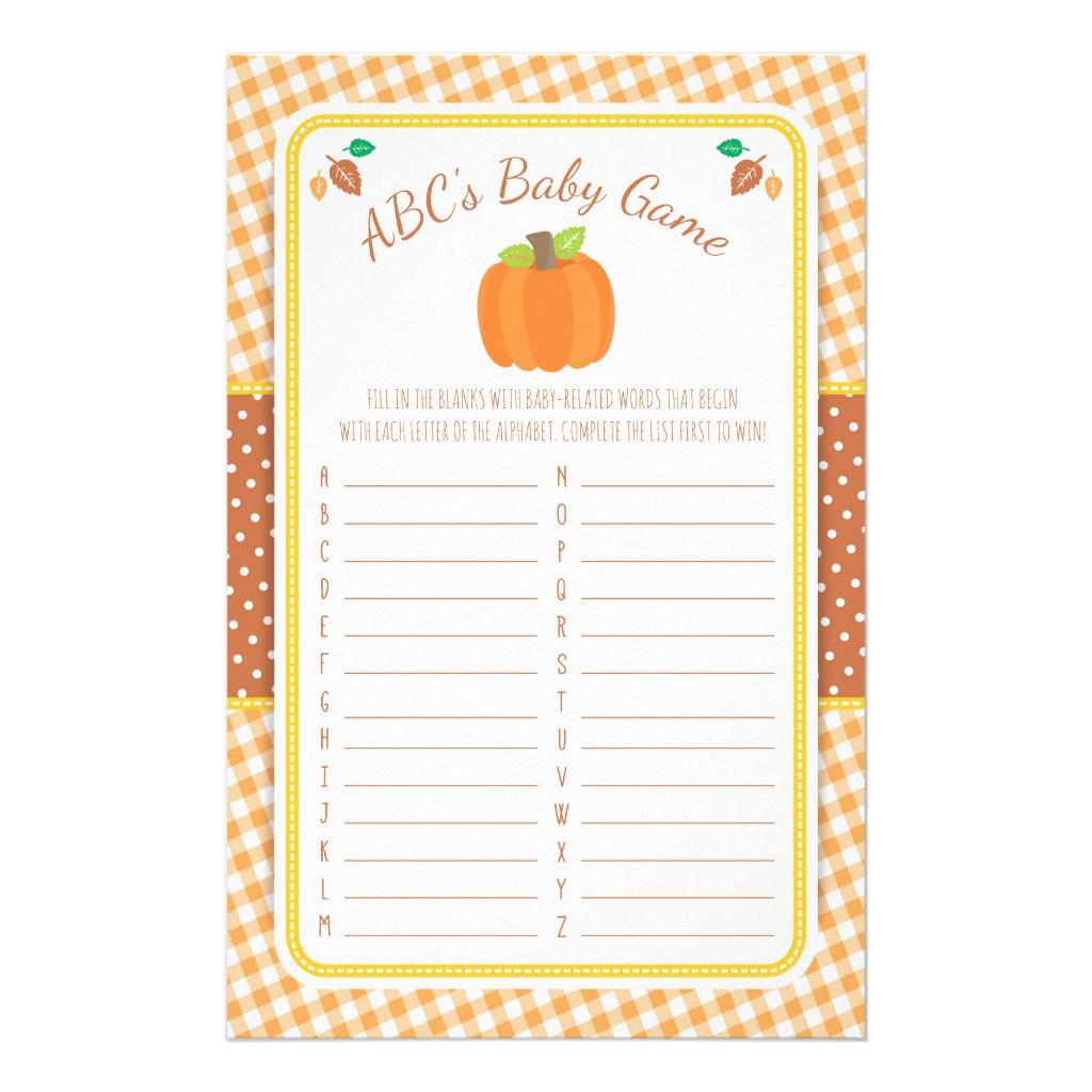 Fall Pumpkin Baby Shower ABC's Game Flyer