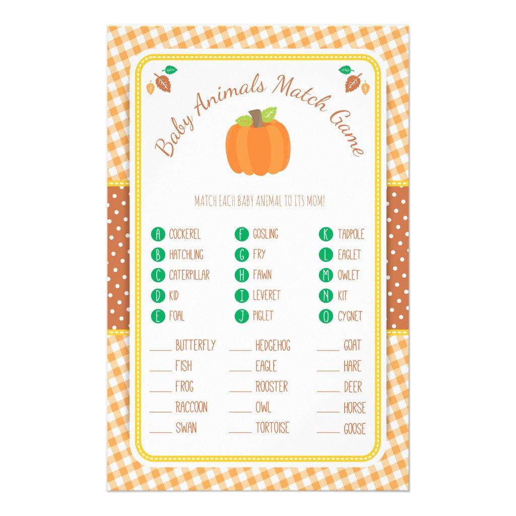 Fall Pumpkin Baby Shower Animal Match Game Flyer