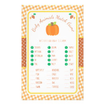 Fall Pumpkin Baby Shower Animal Match Game Flyer