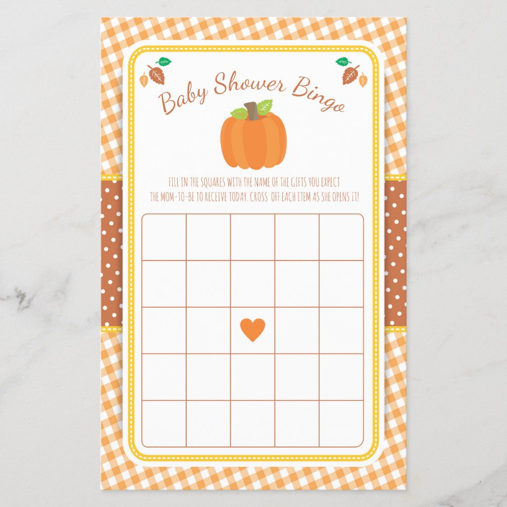 Fall Pumpkin Baby Shower Bingo Game