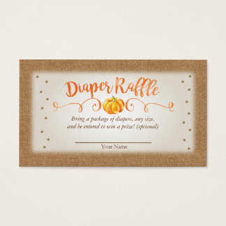 Fall Pumpkin Baby Shower Diaper Raffle Card