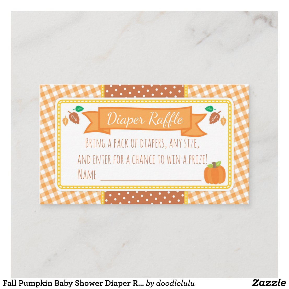 Fall Pumpkin Baby Shower Diaper Raffle Ticket Enclosure Card