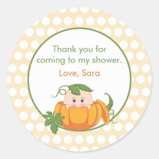 Fall Pumpkin   Baby Shower Favor Sticker