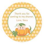 pumpkin, fall baby shower favor stickers, autumn