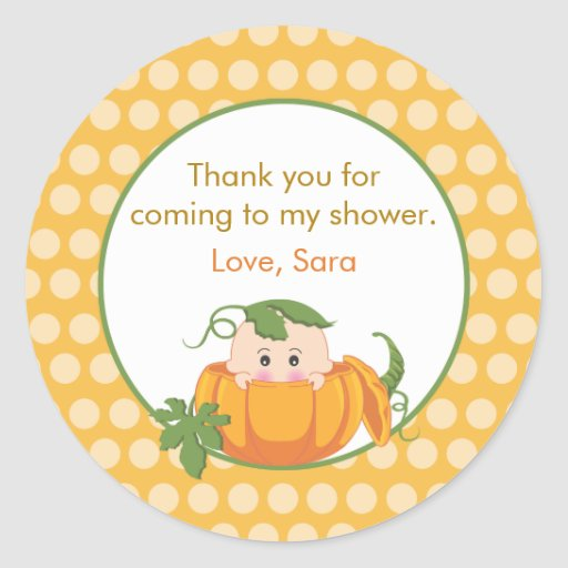 Fall Pumpkin | Baby Shower Favor Sticker