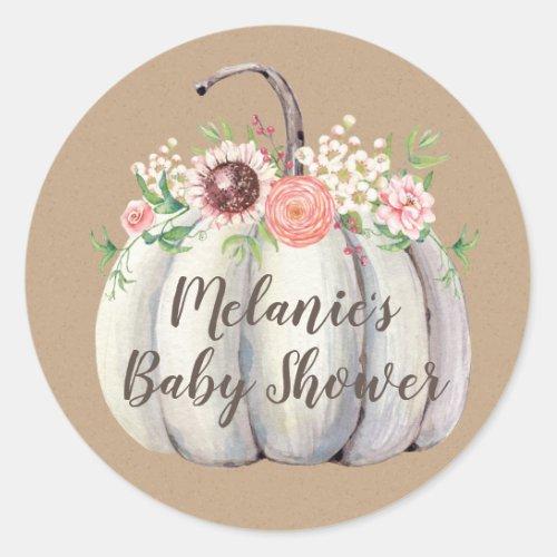 Fall Pumpkin Baby Shower Favor Stickers