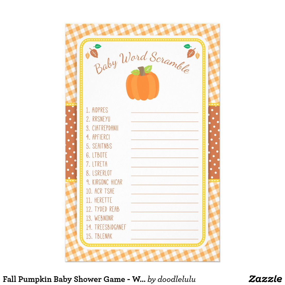 Fall Pumpkin Baby Shower Game - Word Scramble Flyer