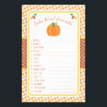 """Fall Pumpkin Baby Shower Game - Word Scramble Flyer<br><div class=""""desc"""">This design features a pumpkin and leaves in fall colors on a gingham background. Coordinating products are available in our shop, zazzle.com/doodlelulu*. Contact us if you need this design applied to a specific product to create a matching item! Thank you so much for viewing a DoodleLulu by 2 june bugs...</div>"""