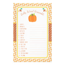 Fall Pumpkin Baby Shower Game - Word Scramble Flyer