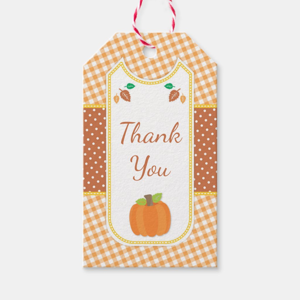 Fall Pumpkin Baby Shower Gift Tag