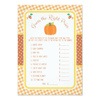 Fall Pumpkin Baby Shower Guess the Price Game Card