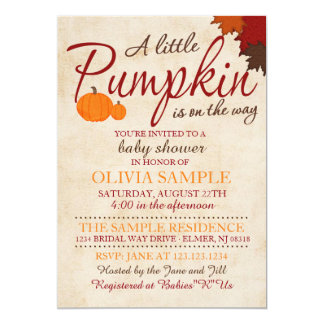 Fall Pumpkin Baby Shower Invitation