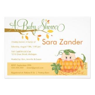 Cute Fall Pumpkin Baby Shower Invitations