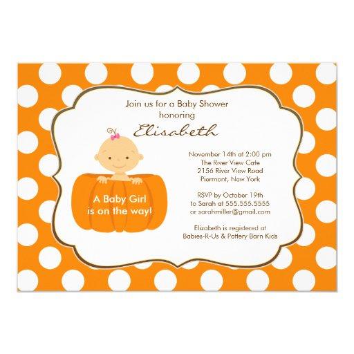 Fall Pumpkin Baby Shower Invitation Girl