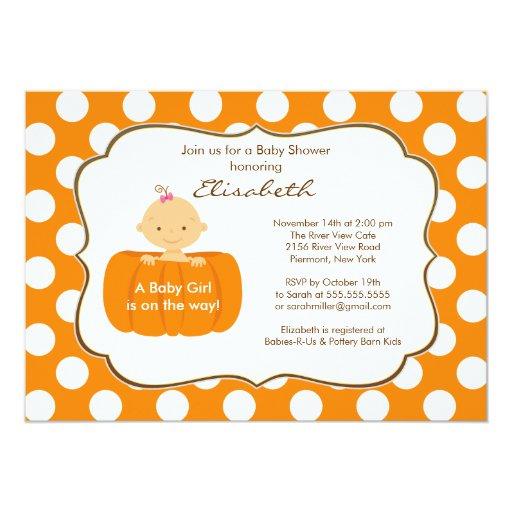 "Fall Pumpkin Baby Shower Invitation Girl 5"" X 7"" Invitation Card"