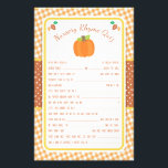 """Fall Pumpkin Baby Shower Nursery Rhyme Quiz Game Flyer<br><div class=""""desc"""">This design features a pumpkin and leaves in fall colors on a gingham background. Coordinating products are available in our shop, zazzle.com/doodlelulu*. Contact us if you need this design applied to a specific product to create a matching item! Thank you so much for viewing a DoodleLulu by 2 june bugs...</div>"""
